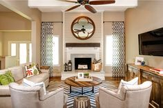 mirror, furniture arrangement, family room design, living rooms, famili, fireplace design, family rooms, live room, curtain
