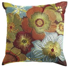 Embroidered Floral Pillow - Pier1 US