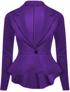 Details about LADIES WOMENS CROP PEPLUM FRILL BLAZER WORK OFFICE ...