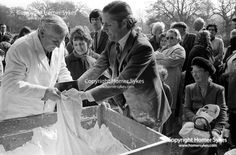 Tichborne Dole. Tichborne, Hampshire 1974. The annual dole of flour, is first blessed on the steps of the house by the family priest on Lady Day, 25 March, and then distributed by Mr Jonkheer John Loudon and a family retainer.