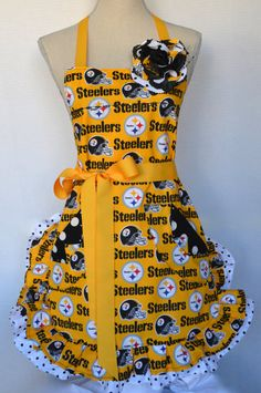 Womens Full Apron Pittsburg Steelers  by OliviabyDesign on Etsy, $33.95
