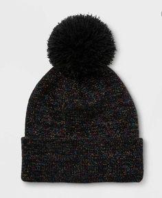 f36ce82c83f Cat   Jack Girl s Lurex Cuffed Pom Beanie Black w  Metallic One Size Winter  NWT