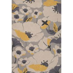 Featuring a floral design, this rug is colored with rich grey and yellow tones. Crafted with polyester, this rug will give any space a contemporary flair.