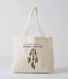 Dream chaser tote bag Dream catcher totebag by Mystatement on Etsy