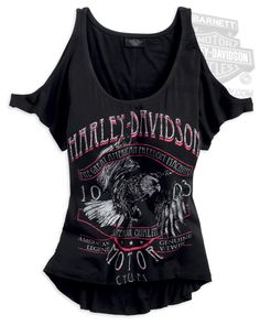 Harley-Davidson® Womens Cutout Shoulder Scoop Neck Black Short Sleeve Knit Shirt