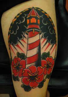old school / traditional nautic ink - lighthouse with roses
