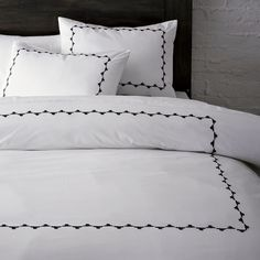 Embroidered bedding from West Elm - Olivia Pope's bedding on Scandal...So Fresh, So Clean