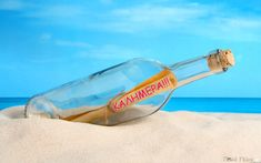 A glass bottle with a letter in the white sand on a tropical beach. Blue ocean and bright blue sky in a background. Photo Dictionary, Movies Quotes, White Magic Spells, Les Fables, Message In A Bottle, Marketing, Copic, Spelling, Sea Shells