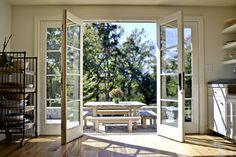 Kitchen French Doors - Open - traditional - patio - louisville - by Rock Paper Hammer