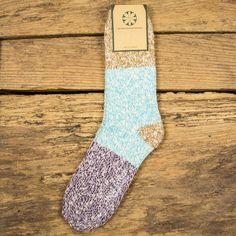 Moss Green Slub Three Colour Block Sock - Brown