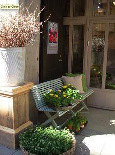 Décor de Provence:bench by the door.