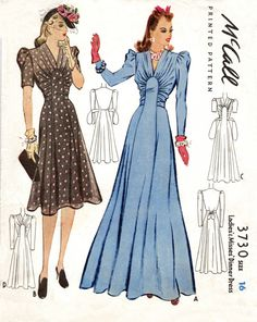 Dress Patterns available from The Vintage Pattern Shop Vintage Outfits, Vintage Dresses, 1940s Dresses, Day Dresses, Flapper Dresses, 1940s Fashion, Vintage Fashion, Vintage Couture, Edwardian Fashion