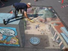 The Chalk man is back - wow - this really is only 3D. #StreetArt