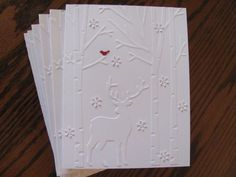 Christmas Deer Card Set Deer Christmas Cards by SassyScrapsCrafts