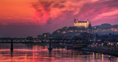 View of Bratislava castle at burning sunset. View of Bratislava castle at burning sunset. Sofia Bulgaria, Places Ive Been, Places To Go, Bratislava Slovakia, Weekend Breaks, Night City, Favim, Beach Fun, Vacation Destinations