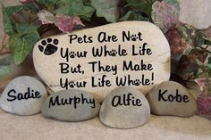 Engraved Pet Memorial Stone with Name Stones. $60.00, via Etsy.