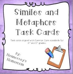 This set contains 32 task cards (4 per page) that help students reinforce the concept of figurative language. Task cards are multiple choice and ask students to identify the type of figurative language, to identify the meaning of the figurative language, and to identify the two object being compared.: This set contains 32 task cards (4 per page) that help students reinforce the concept of figurative language. Task cards are multiple choice and ask students to identify the type of figurative…