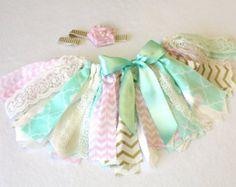 Pink Mint Gold and White Lace Fabric Tutu FREE by FlyAwayJo