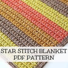Star stitch crochet newborn baby blanket - modern baby blanket - stripes