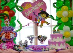 Decoração de Festa Dora, A Aventureira #dora #decoracao #decoration #party #festa #candy #doces #baloes #bexigas #balloons