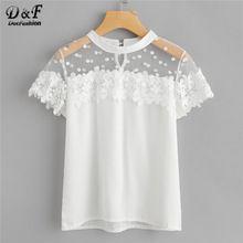 Dotfashion Dot Mesh Panel Crochet Appliques Blouse 2018 New White Short Sleeve Floral Ladies Top Round Neck Plain Blouse(China)