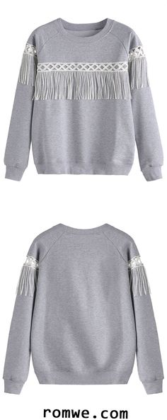 Shop Grey Lace Insert Fringe Sweatshirt at ROMWE, discover more fashion styles online. Make Your Own Clothes, Diy Clothes, Clothes For Women, Diy Fashion, Fashion Outfits, Womens Fashion, Jean Parfait, Mode Hijab, Lace Insert