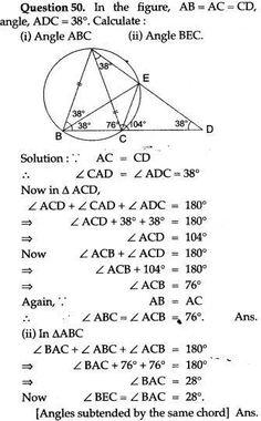 ICSE Solutions for Class 10 Mathematics - Circles - A Plus Topper Math Formula Chart, Maths Ncert Solutions, Math Genius, Math Quotes, Essay Writing Skills, Math Charts, E 38, Math Vocabulary, Math Formulas