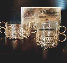 Timo Sarpaneva 'Karaatti' (Carat) Gold-Plated Creamer and Sugar Bowl Set - Mid-Century Modern Vintage Glass Design from Iittala, Finland Carat Gold, Glass Design, Sugar Bowl, Bowl Set, Finland, Mid-century Modern, Plating, Mid Century, Vintage