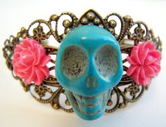 Day of the Dead Cuff Bracelet for Dia de Los Muertos by polishedtwo, $12.50