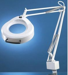 """Luxo 16345LG IFM Magnifier, 45"""" External Spring Arm, 3-Diopter, Edge Clamp, Light Grey"""