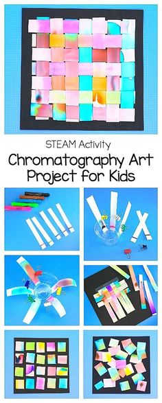 STEAM / STEM Activity for Kids: Art Project Using Chromatography- Kids explore the science of chromatography and turn their final products into gorgeous artwork- weaving and collages using the chromatography strips. A fun science and art activity for preschool, kindergarten, and all elementary grades! #stem #scienceforkids #artforkids