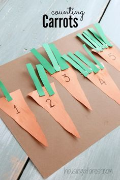 Preschool Counting Activities ~ Counting Carrots www.housingafores… Preschool Counting Activities ~ Counting Carrots www. Kids Crafts, Preschool Projects, Preschool Lessons, Preschool Activities, Preschool Easter Crafts, Art Projects, Activities For 3 Year Olds, Letter M Activities, Easter Activities For Toddlers