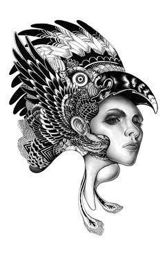 the bird god pencil and ink 2012 by Iain Macarthur