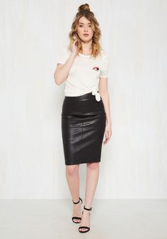 Edge Your Bets Pencil Skirt. A last-minute date may be a difficult ensemble scenario for some, but for you, this faux-leather skirt is an easy and instinctive choice. #black #modcloth