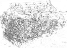 Automotive Illustration of a Ferrari Engine Working Drawings by Tony Matthews Ferrari F1, Cafe Racer Dreams, Engine Working, V10 Engine, Working Drawing, Race Engines, Drawing Artist, Drawing Board, Automotive Design