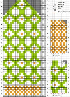 Kitchen Wallpaper mitten chart + several other free mitten charts