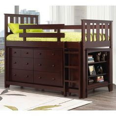 LOVE that this bed has a detachable dresser and shelf that can be moved around