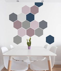 Removable Honeycomb Wall Stickers Self Adhesive Fabric Art