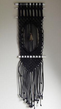 Vintage Black Macrame Wall Hanging w/ Tibetan Brass Bell, Bohemian Hippy Decor