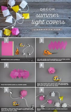 Light up your room or an outdoor party with these hanging summer string lights. This DIY is a fun decorating idea for any room. Thanks,@liag!