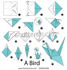 step by step instructions how to make origami A Bird. - stock vector