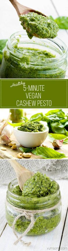 My healthy 5-minute vegan cashew pesto is one of the simplest - and most delicious - things you can make for your pasta. It's also fantastic on baked potatoes, crostini, or even as a dip for chips and other nibbles. | yumsome.com