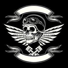 Illustration vectorielle crâne moteur. Design vintage moto — Illustration #75535009