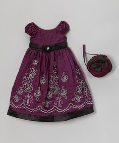 Deep Lilac Embroidered Dress & Purse - Infant