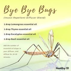 Aroma Therapie A homemade natural spray recipe to keep the bugs away. Click image to read more. Thyme Essential Oil, Essential Oils For Add, Essential Oil Diffuser Blends, Essential Oil Uses, Doterra Essential Oils, Young Living Essential Oils, Mosquitos, Bye Bye, Bug Spray Recipe