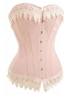 Alivila.Y Fashion Sexy Floral Lace Trim Corset 2606 With G-String-Pink-M/Bust:32-34inch Waist:26-28inch: Amazon.ca: Clothing & Accessories