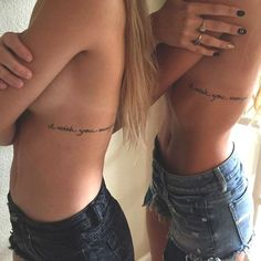 42 coolest matching BFF tattoos that prove your friendship forever . - 42 coolest matching BFF tattoos that prove your friendship is forever Side Tattoos, Couple Tattoos, Body Art Tattoos, Rib Tattoo Placements, Rib Cage Tattoos, Tatoos, Xoil Tattoos, Forearm Tattoos, I Wish You Enough