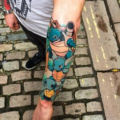 Squirtle, Wartortle and Blastoise tattoo.