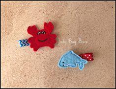 Crab Hair Clip Crab Clip Crabby Clippy Beach Hair by JadyBugBows