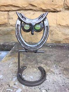 Horseshoe Owl, Horseshoe Art, Owl Statue, Garden Decor, Metal Owl